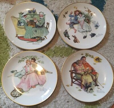 Gorham set of 4 Norman Rockwell Collector Plate 1973 Four Seasons Couples