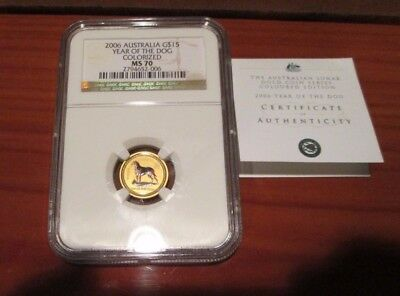 2006 NGC MS 70 Australia Year of the Dog $15 Colorized 1/10 oz Gold Coin Top Pop