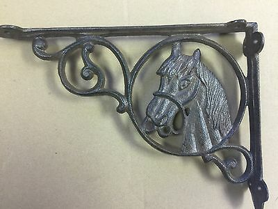 SET OF 4 Cast Iron WESTERN Style HORSE HEAD Brackets,Home, Garden Shelf Bracket