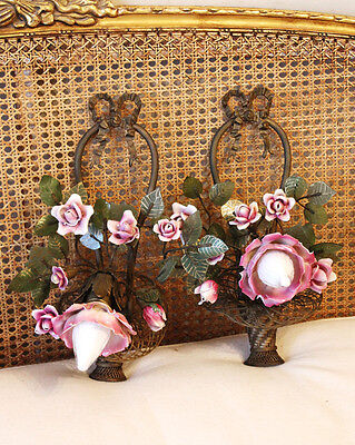 The Best! Pair Antique French Bronze & Porcelain Roses Flower Basket Wall Sconce