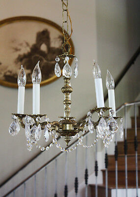 French Country Petite Antique Brass & Crystal Chandelier