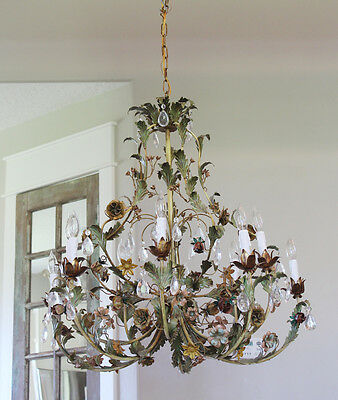 Incredible Xlrg Italian Tole Floral Chandelier Stunning My Fav!