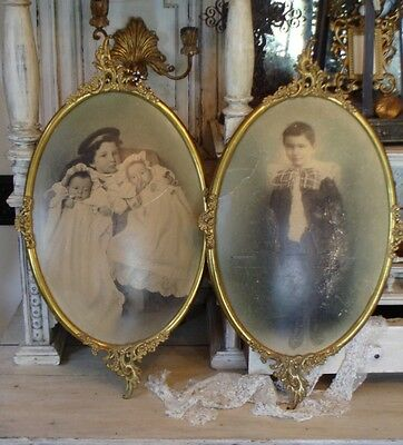 Pair ANTIQUE Gorgeous METAL FRAME PRINTS French LOVELY