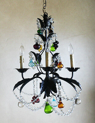 Antique Vintage Italian Tole Multi Color Blown Glass Chandelier Rare Gorgeous