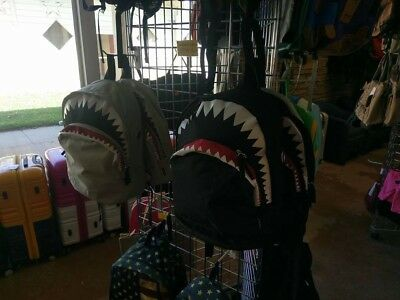 shark backpack with mouth, eye and teeth, 17x14 is the size