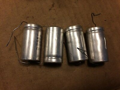 4 Vintage Mallory 500 uf 60v Capacitors Tube Amp Axial Caps 1974 2 NOS TESTED