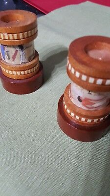 """Set of two Pharaonic wooden hand made candle holders. Dimen: 2.5"""" & 3.5"""" each"""