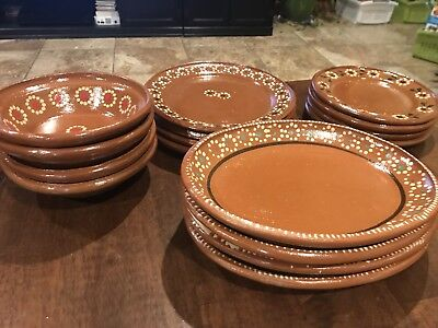 (Set of 16) New! Mexican Decorated Clay Plates. See Details.