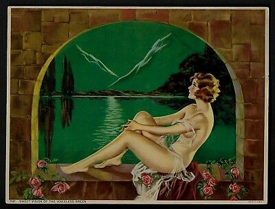 Rare Vintage Art Deco Fantasy Pinup Print Nude Woman In Arched Window By Sea