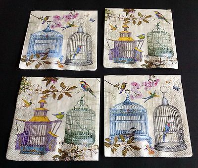 Lot#p New 4 Bird Cages Paper Napkins Decoupage Altered Art Victorian Cardmakers