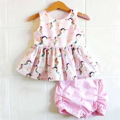 US Stock Newborn Kids Baby Girl Unicorn Tops Dress Shorts Outfits Set Clothes