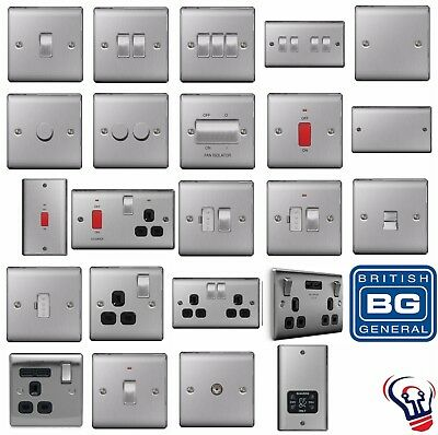Bg Nexus Metal Brushed Steel Decorative Light Switches & Sockets - Black Inserts