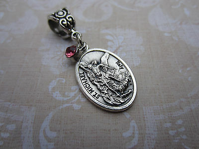 St Michael Archangel Medal & Pink Crystal 2Pc Pendant Catholic Religious Gift