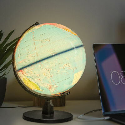 LED World Map Globe Night Light Illuminated Lamp Desk Decor Kids Students Gift