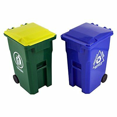 Thornton's Office Supplies Mini Curbside Trash and Recycle Can Set Pencil Cup...