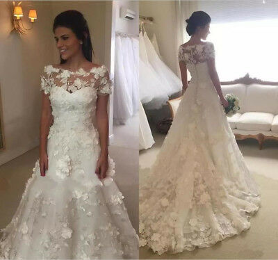35b55d3b3de5 Gorgeous 3D Floral New A Line Wedding Dress White/Ivory Off Shoulder Bridal  Gown