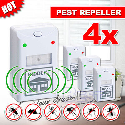 4X RIDDEX Plus Pest Repeller Ultrasonic Electronic Rat Mosquito Rodent Control A