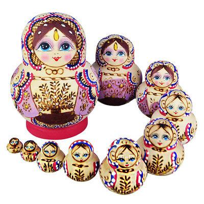 10pcs Wooden Russian Hand Painted Nesting Female Dolls Babushka Matryoshka Gift