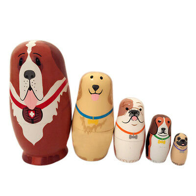 5 Pcs Cute Dogs Nesting Dolls Matryoshka Wooden Russian Painted Doll Toy Gifts