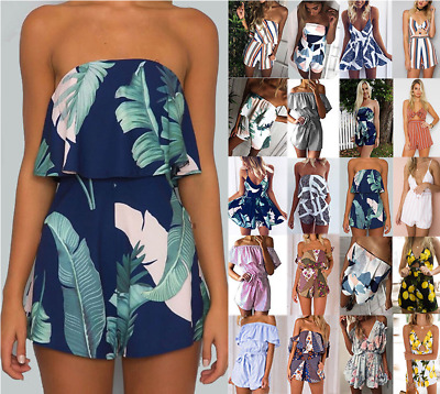 UK Womens Sexy Strapless Jumpsuit Mini Playsuit Ladies Tops Summer Beach Dresses