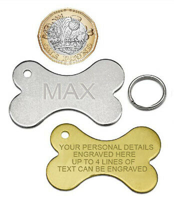 Engraved Pet Tags Dog Collar Tag Bone Shaped Personalised Brass