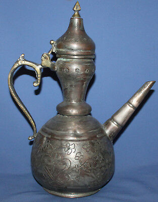 Antique Islamic Hand Made Engraved Tinned Copper Tea Coffee Pot Pitcher