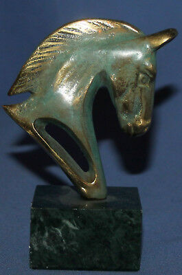 Vintage Hand Made Brass Horse Head Figurine With Marble Base