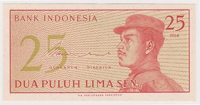 (N12-42) 1964 Indonesia 25 SEN bank note (C)