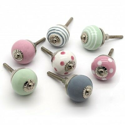 Small Spots Stripes Ceramic Porcelain Cupboard Chest of Drawers Door Pulls Knobs