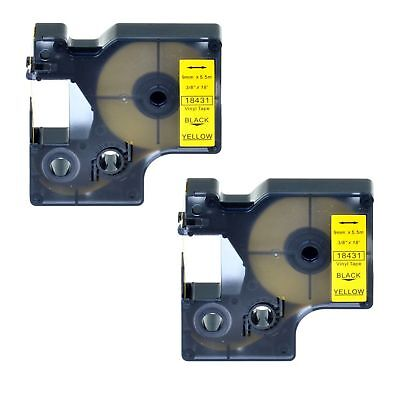 "2PK 18431 Black on Yellow Vinyl Label 3/8"" for DYMO RHINO 4200 5200 6000 Printer"
