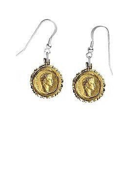 Gold Plated Roman Gold Coin on hook Earrings sterling silver 925 codek24