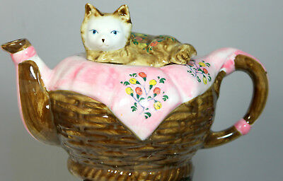 Vintage Porcelain Andrea By Sadek  Sleeping Cat In A Basket Teapot