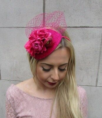 Hot Pink Cerise Rose Flower Net Fascinator Hair Headband Races Teardrop Vtg 4974