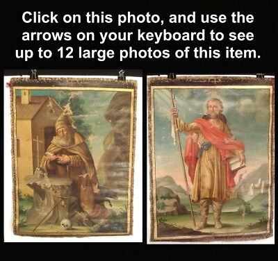 Antique TWO-SIDED Old Catholic Religious OIL PAINTING SAINT FRANCIS + Benedict