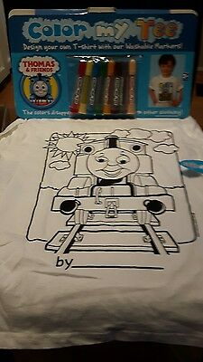 COLOR MY TEE colour Thomas and Friends RARE New size large 7 yrs  47-57 pounds