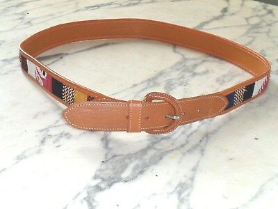 Womens M Tan Leather Trimmed Woven Fabric Native American Western Belt