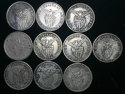1908s US-Philippines 1 Peso Silver Coins (10 pcs)- lot #5