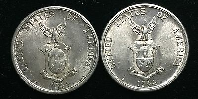 1944s US-Philippines Silver Coins 50 centavos (2 pcs)- lot#2