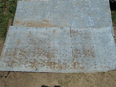 "Vintage Metal Barn Ceiling Tin Decorative Stone Not Corrugated ~ 59"" x 28"""