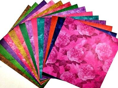 12X12 Scrapbook Paper lot 14 Sheets Primary Floral Subtle Print Card Making L242