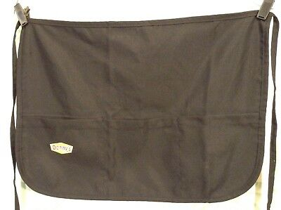 Denny's Server Waist Apron Black w/ Pockets Double Sided Reversible One Size