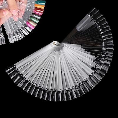 50 X Nail Art Tips Pop Stick Display Fan Fashion Starter Ring Clear DIY