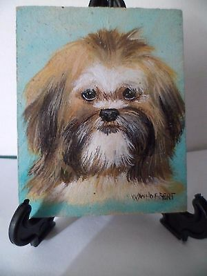 Shih Tzu- Hand Painted On Tile With Easel By Artist W. W. Hoffert