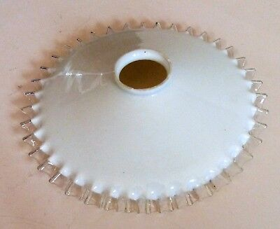 Vintage French coolie light shade white opaline milk glass and clear frilly edge