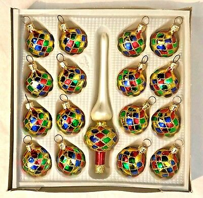Vintage POLAND Box 16 FEATHER TREE Christmas Ornaments + TOPPER Harlequin