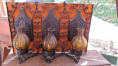 Vtg Carved Wood & Metal Chain Spain GOTHIC Medieval Candle wall SCONCES Castle