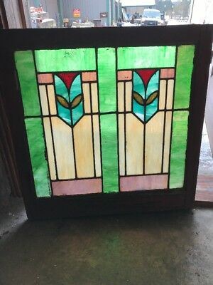 "Sg1742 Antique Deco Design Stain Glass Window 28.2 5W By 29""h"