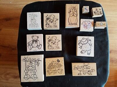 Bears and Bunnies~Mounted Rubber Crafting Stamps~Vintage 1990's