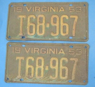 1953 Virginia Truck License Plates hard to find year