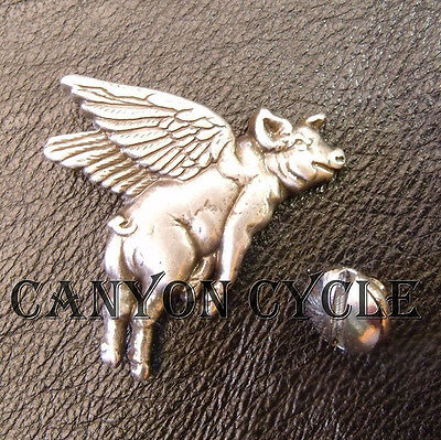 Sterling Silver Flying Pig Concho Vest Belt Pin Harley Saddle Bag Screw Back